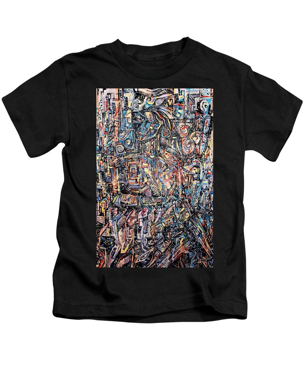 Surrealism Kids T-Shirt featuring the painting Labyrinth Of Sorrows by Darwin Leon