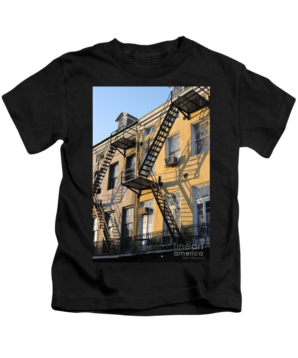 Architecture Kids T-Shirt featuring the photograph Ladders by Todd Blanchard
