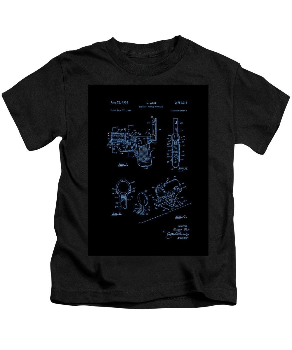 Patent Kids T-Shirt featuring the photograph Ladies Pistol Compact Patent Art by Lesa Fine