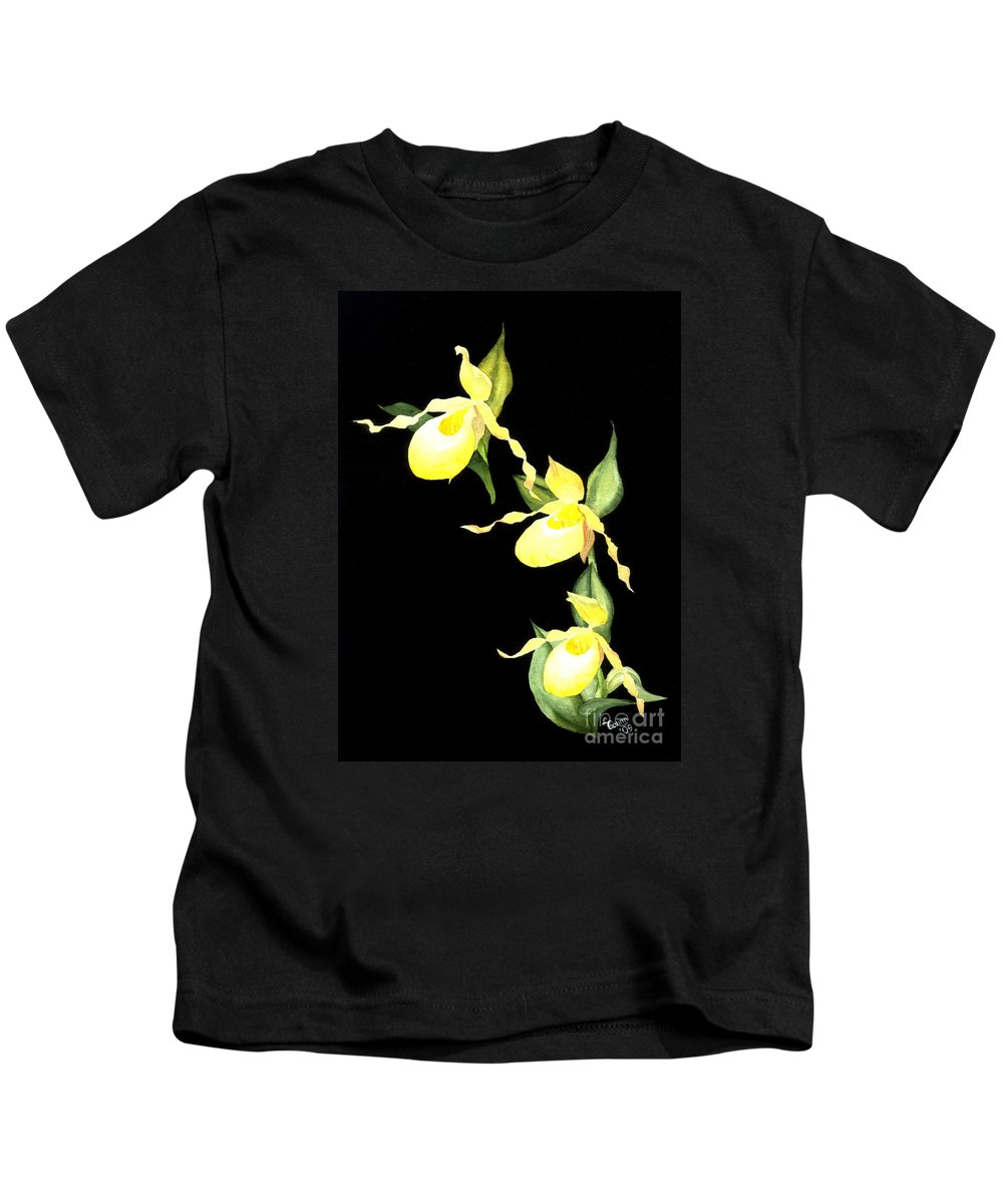 Yellow Lady S Slipper Kids T-Shirt featuring the painting Ladies Trio by Lynn Quinn