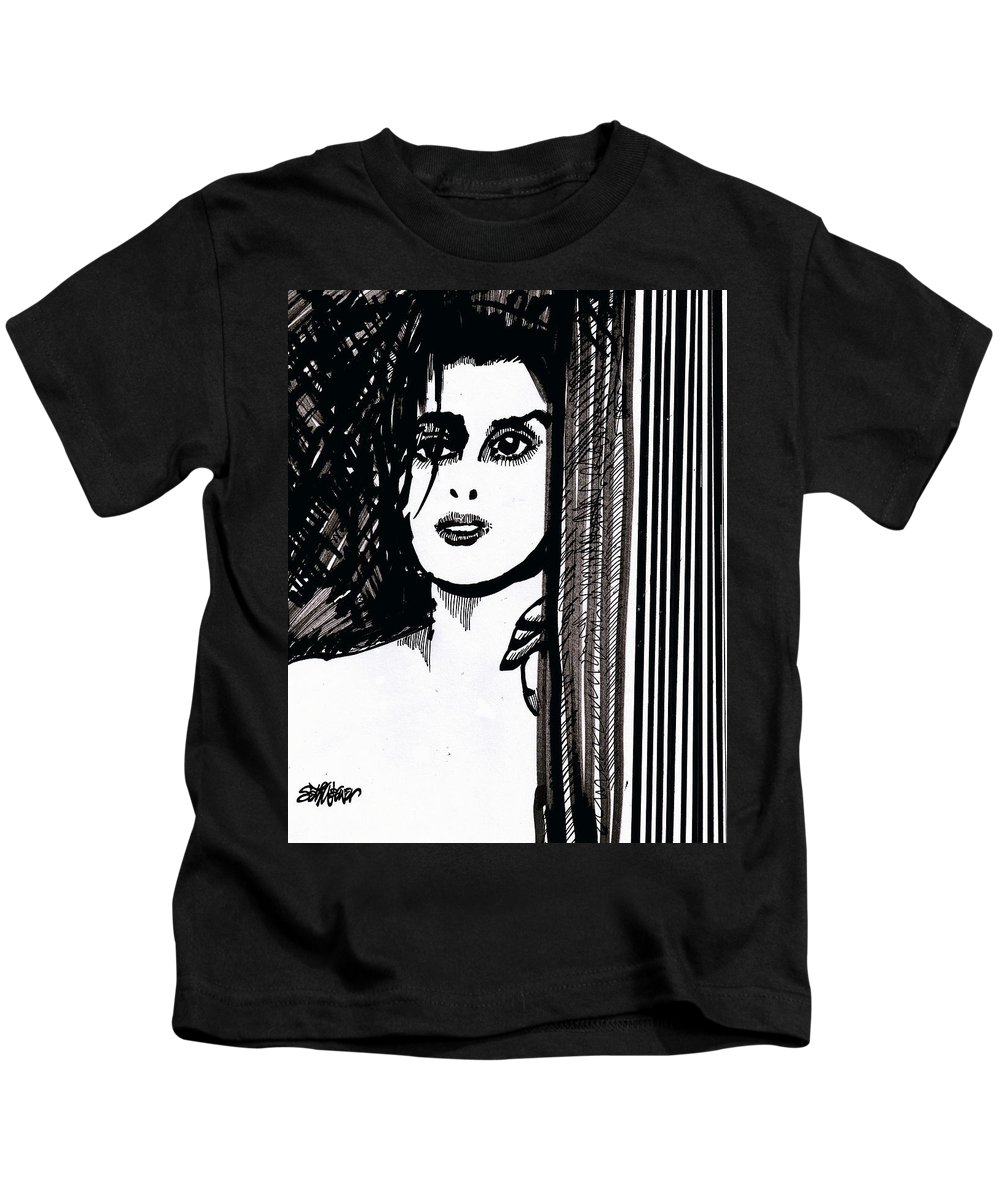 Sad Lady Kids T-Shirt featuring the drawing Lady At The Door by Seth Weaver