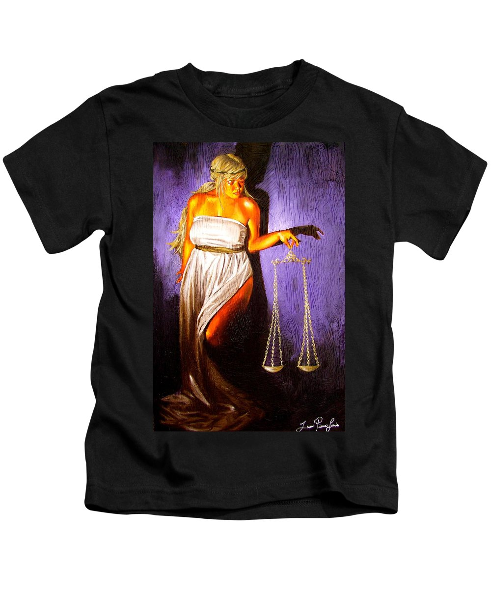 Law Kids T-Shirt featuring the painting Lady Justice Long Scales by Laura Pierre-Louis