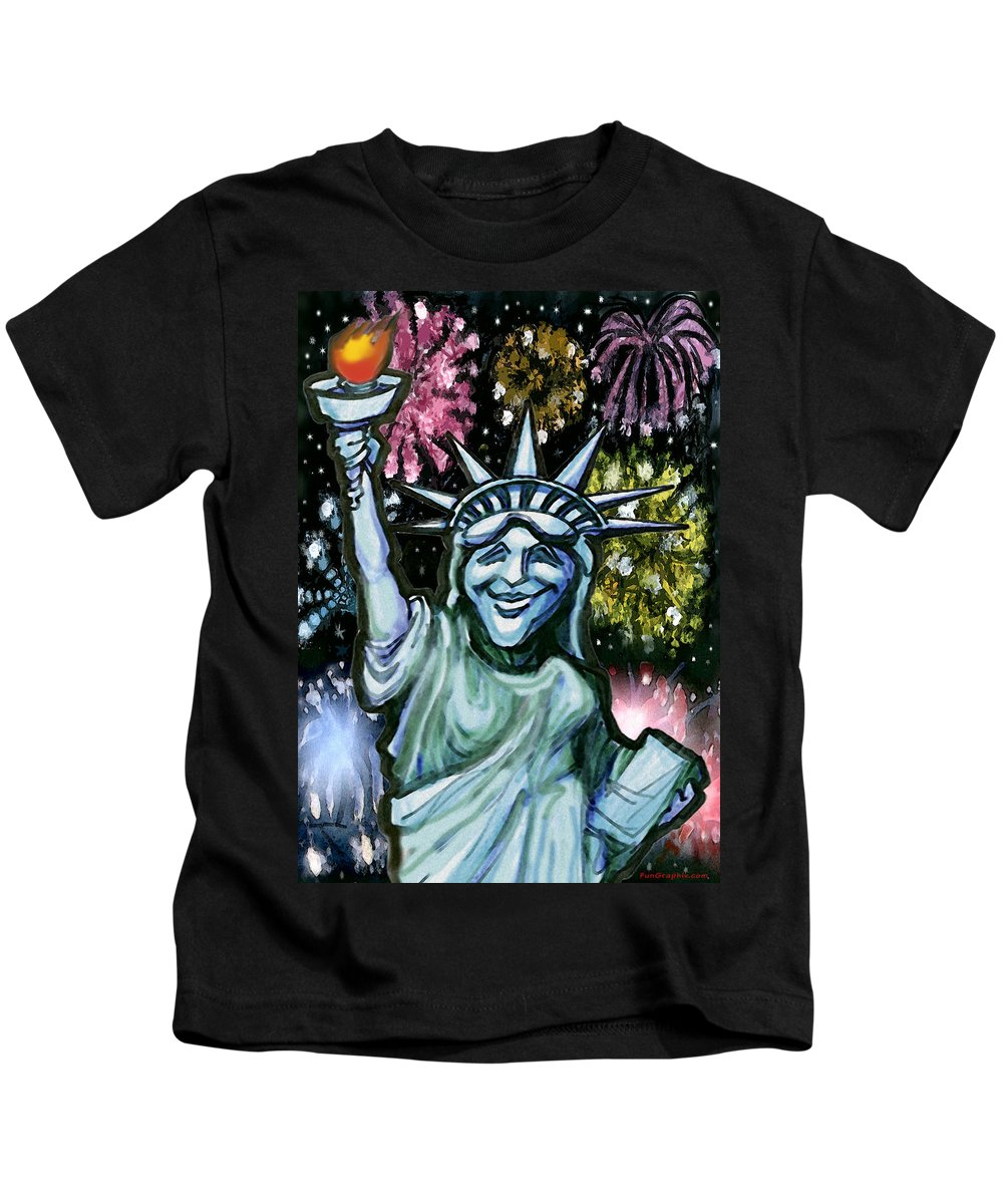 Liberty Kids T-Shirt featuring the painting Lady Liberty by Kevin Middleton