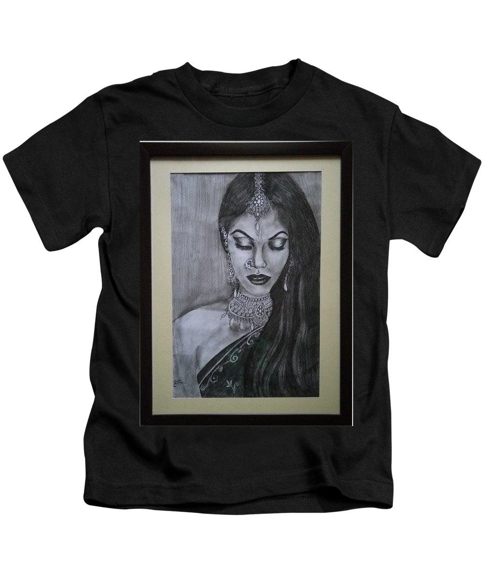 Lady With Bridal Jewelry Kids T-Shirt featuring the drawing Lady With Bridal Jewelry by Sneha Choudhary