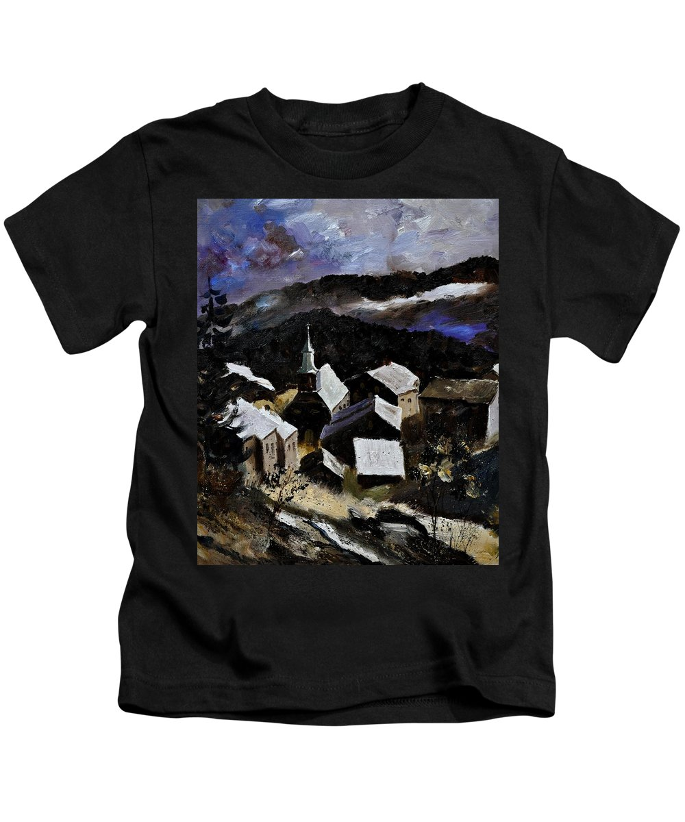 Landscape Kids T-Shirt featuring the painting Laforet Vresse by Pol Ledent