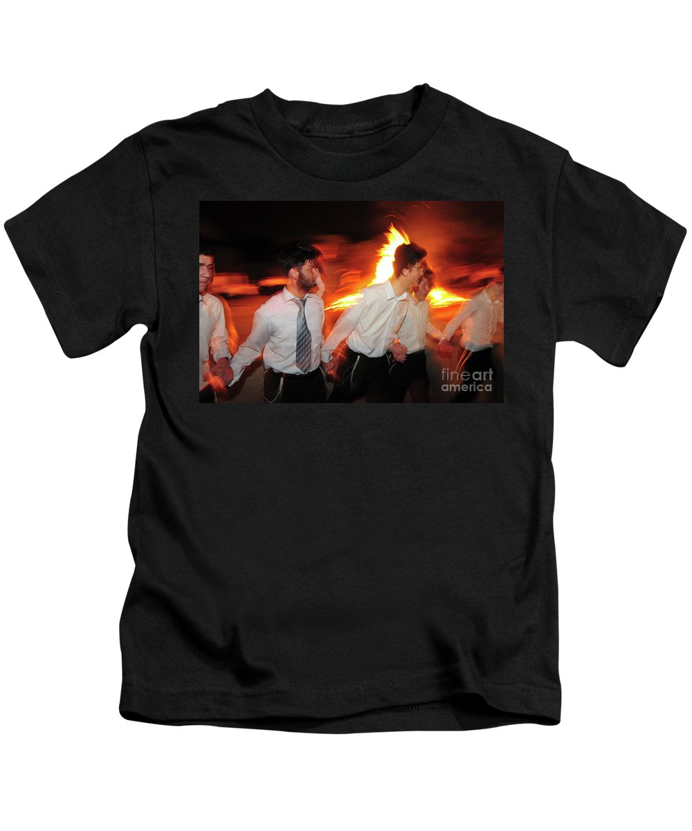 Bonfire Kids T-Shirt featuring the photograph Lag B'omer by Shay Levy