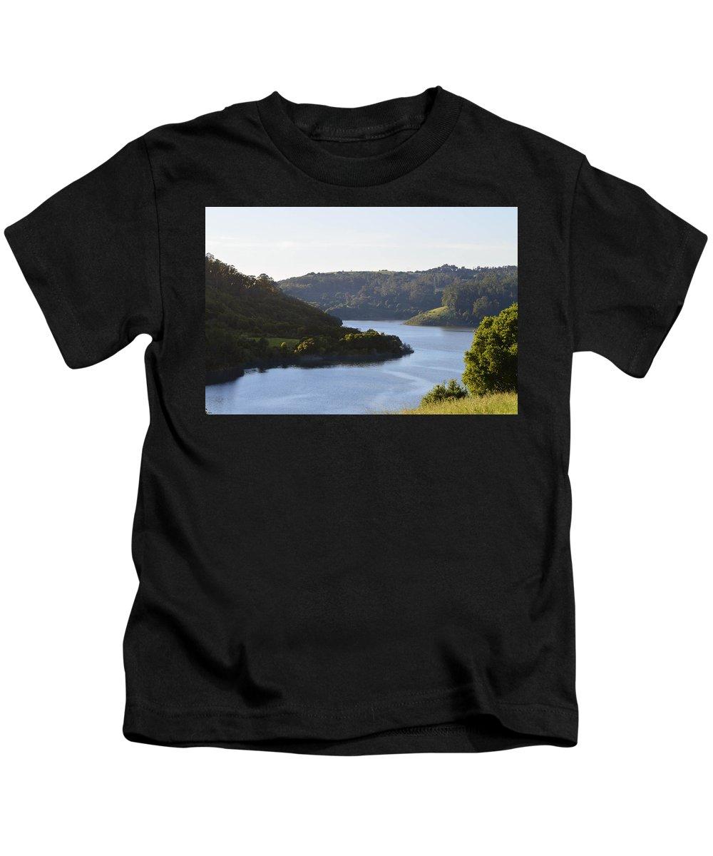 Lake Chabot Kids T-Shirt featuring the photograph Lake Chabot On A Sunny Day by Miranda Strapason