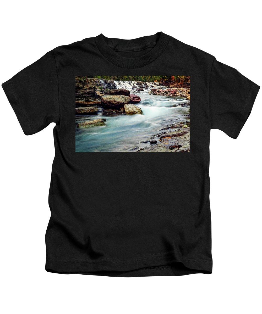 Waterfalls Kids T-Shirt featuring the photograph Lake Mcdonald Falls, Glacier National Park, Montana by Kay Brewer