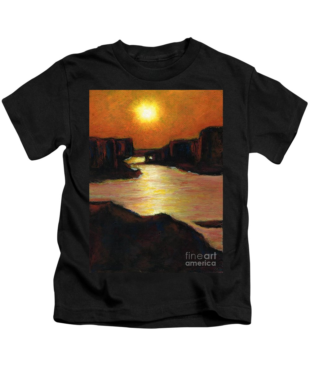 Lake Powell Kids T-Shirt featuring the painting Lake Powell At Sunset by Frances Marino
