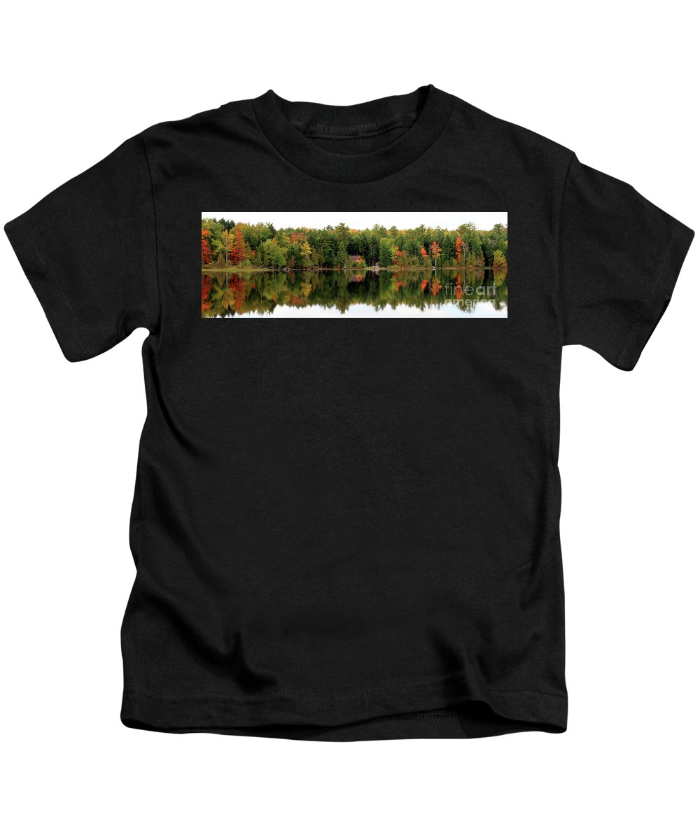 Lake Reflections Kids T-Shirt featuring the photograph Lake Reflections Panorama 4370 4371 by Jack Schultz