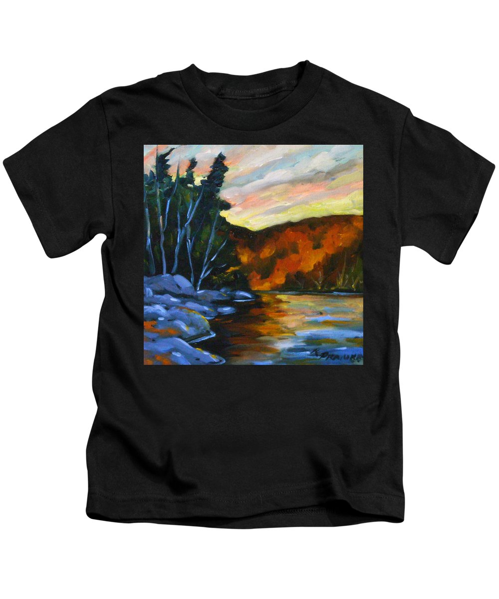Art Kids T-Shirt featuring the painting Lake Reflections by Richard T Pranke