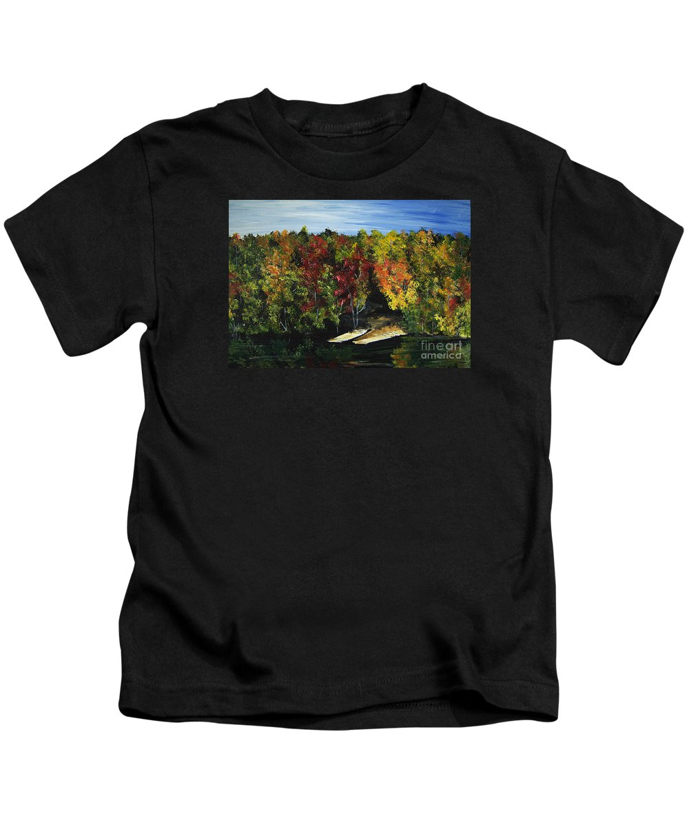Trees Kids T-Shirt featuring the painting Fishing by Monique Mcknight