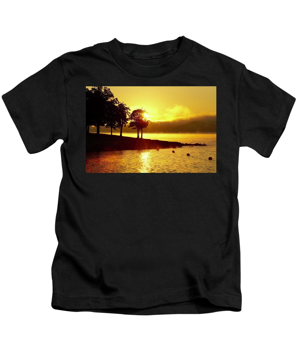 Sunrises Kids T-Shirt featuring the photograph Lake Sunrise by Linda Cupps