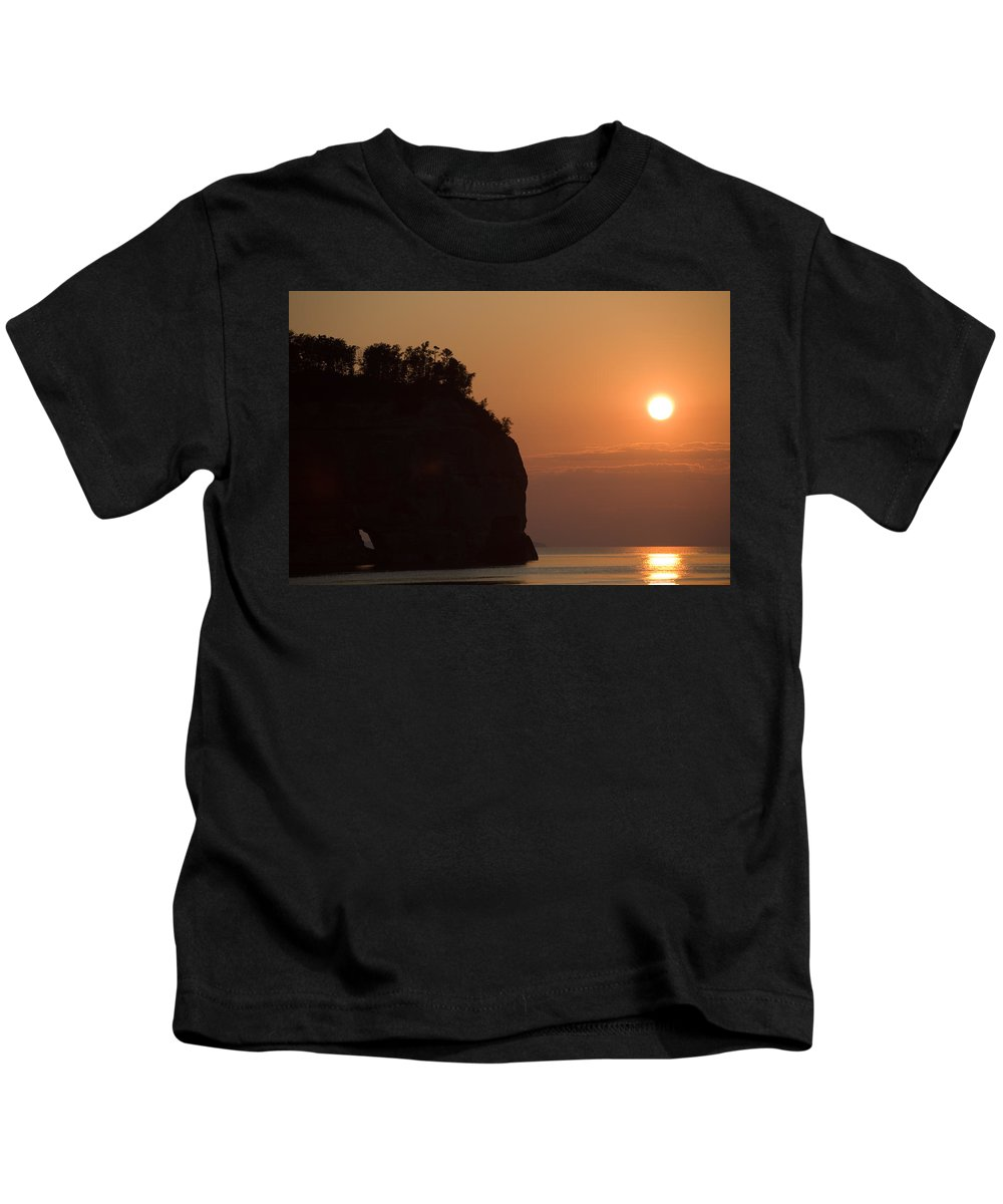 Lake Kids T-Shirt featuring the photograph Lake Superior Sunset by Sebastian Musial