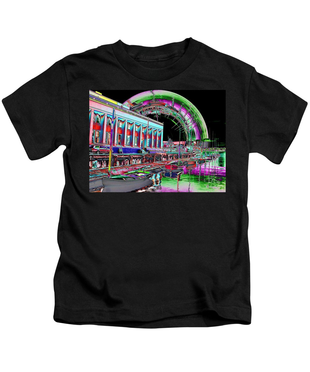 Seattle Kids T-Shirt featuring the photograph Lake Union Rainbow by Tim Allen