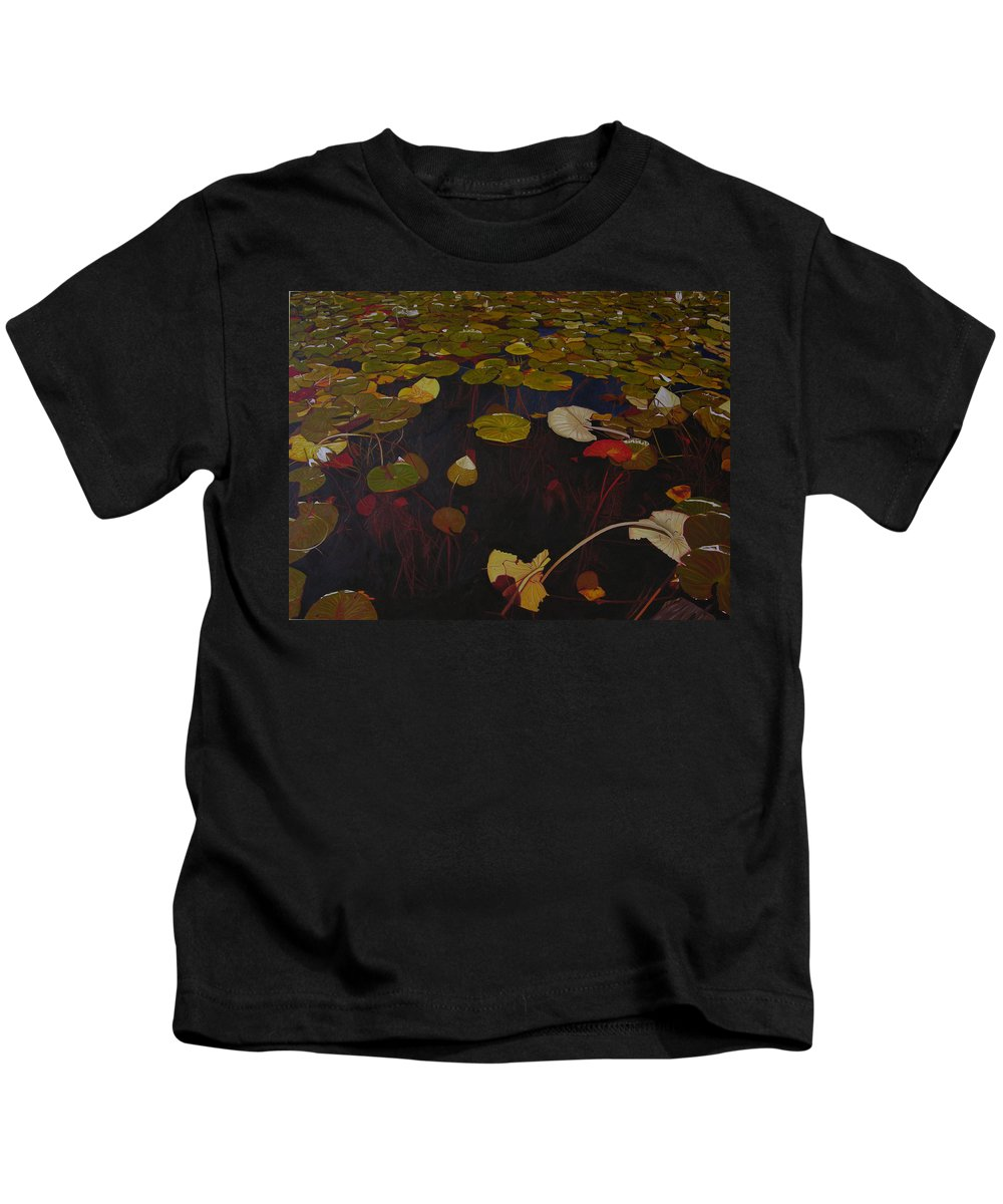 Water Kids T-Shirt featuring the painting Lake Washington Lilypad 7 by Thu Nguyen