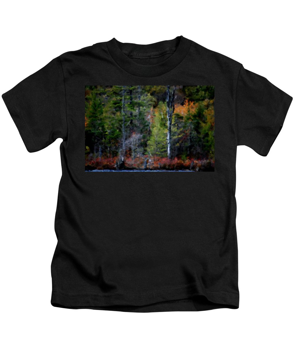 Digital Photograph Kids T-Shirt featuring the photograph Lakeside In The Autumn by David Lane