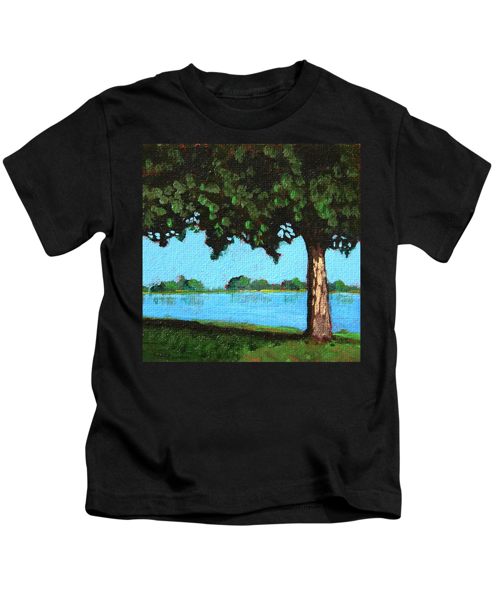 Water Kids T-Shirt featuring the painting Landscape With A Lake And Tree by Masha Batkova