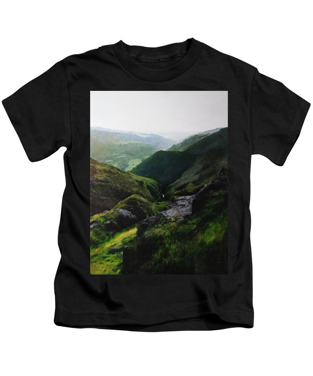 Landscape Kids T-Shirt featuring the painting View Towards The Coast by Harry Robertson