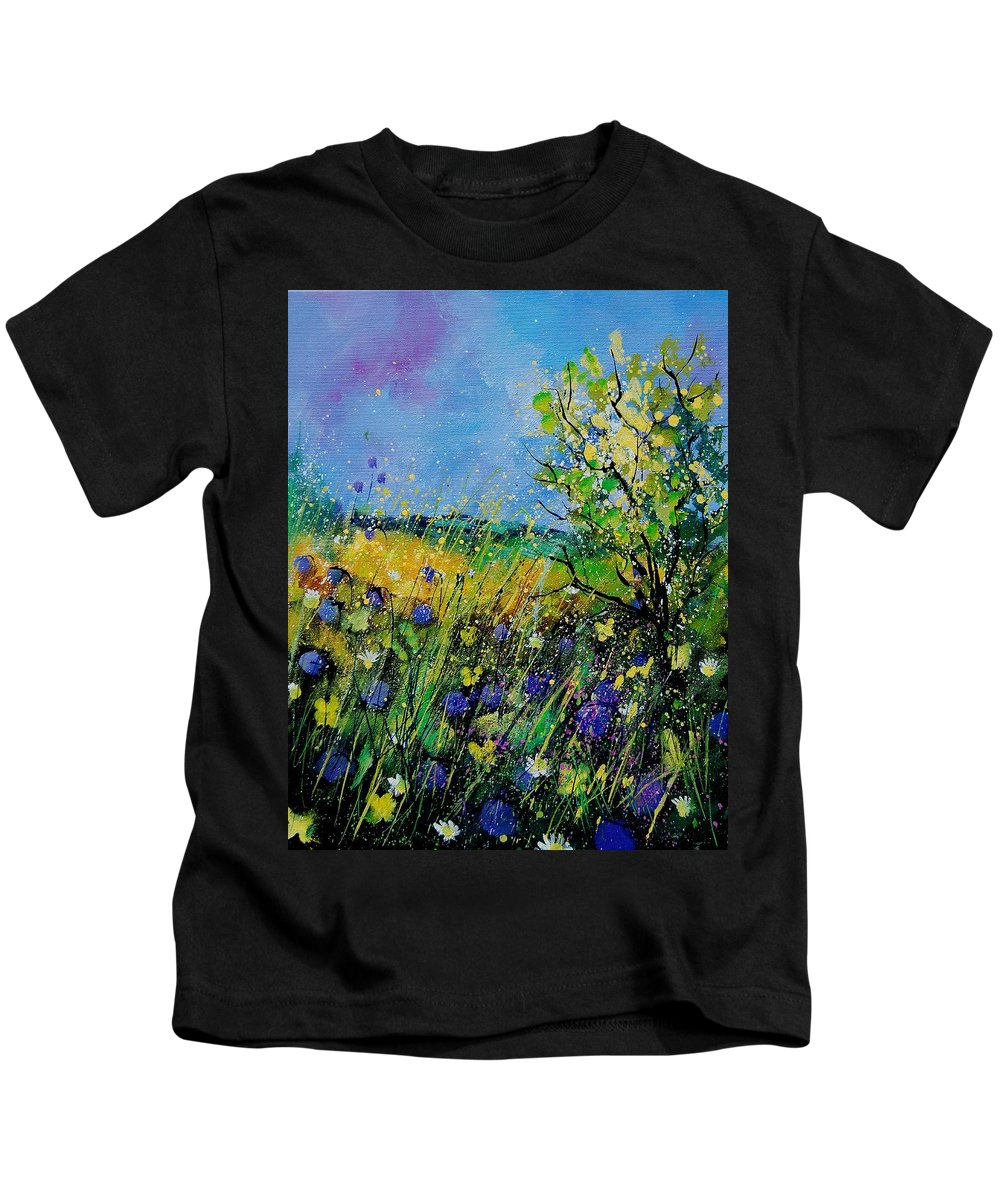Flowers Kids T-Shirt featuring the painting Landscape With Cornflowers 459060 by Pol Ledent