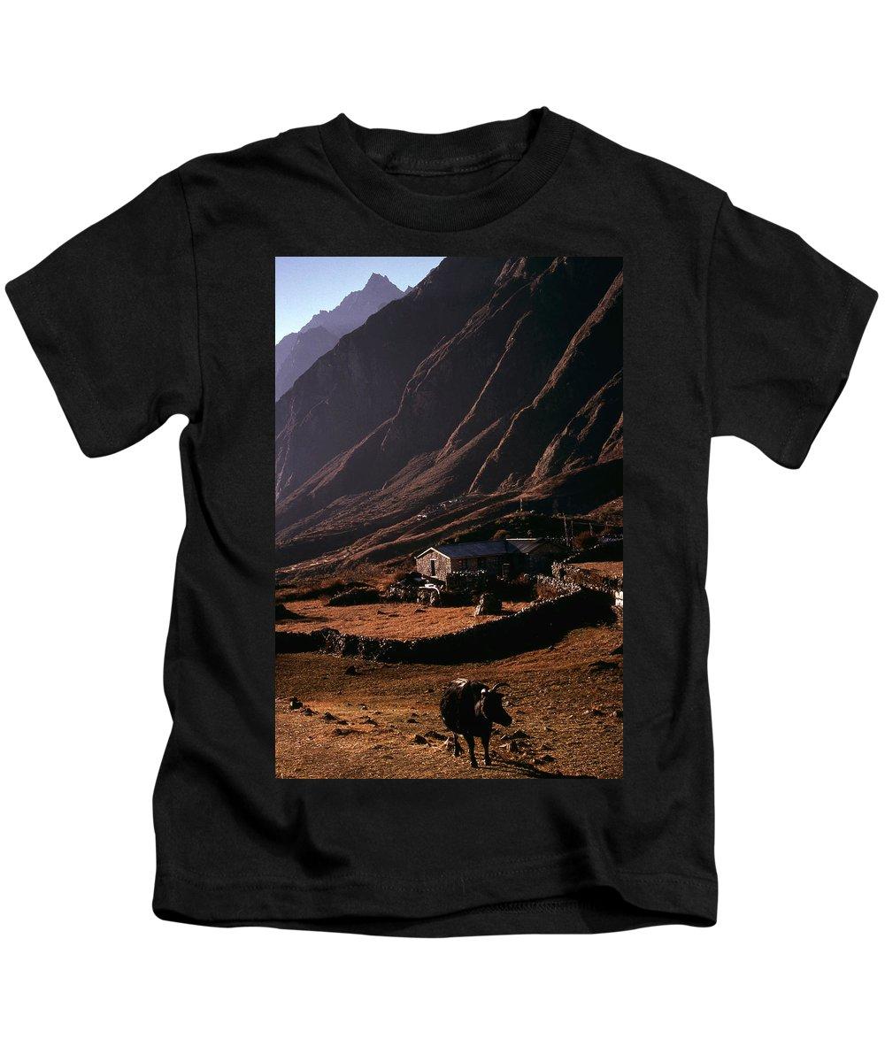 Langtang Kids T-Shirt featuring the photograph Langtang Village by Patrick Klauss