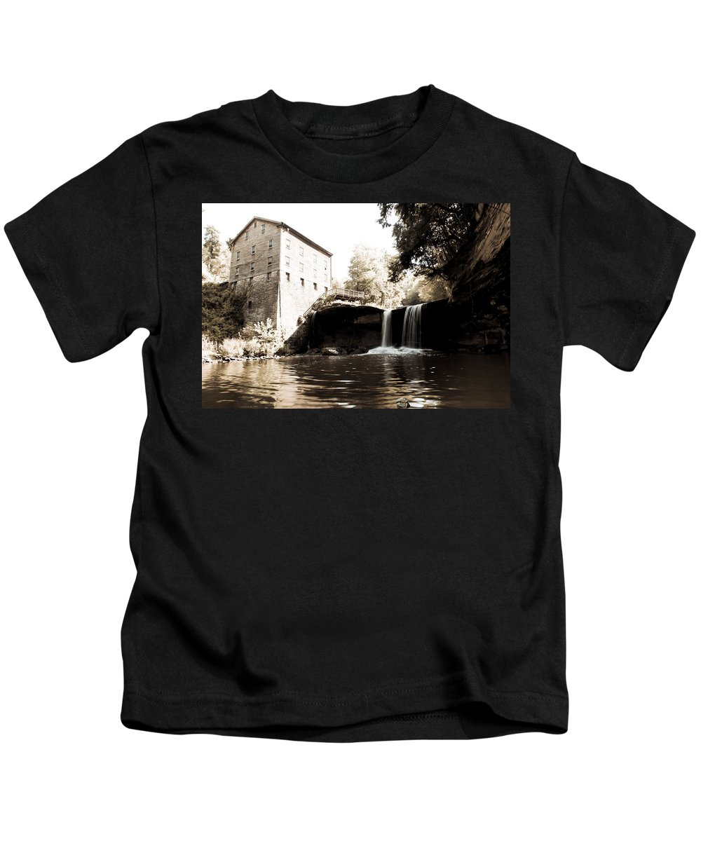 Lantermans Mill Youngstown Ohio Millcreek Park Waterfall River Sepia Kids T-Shirt featuring the photograph Lantermans Mill by Jimmy Taaffe