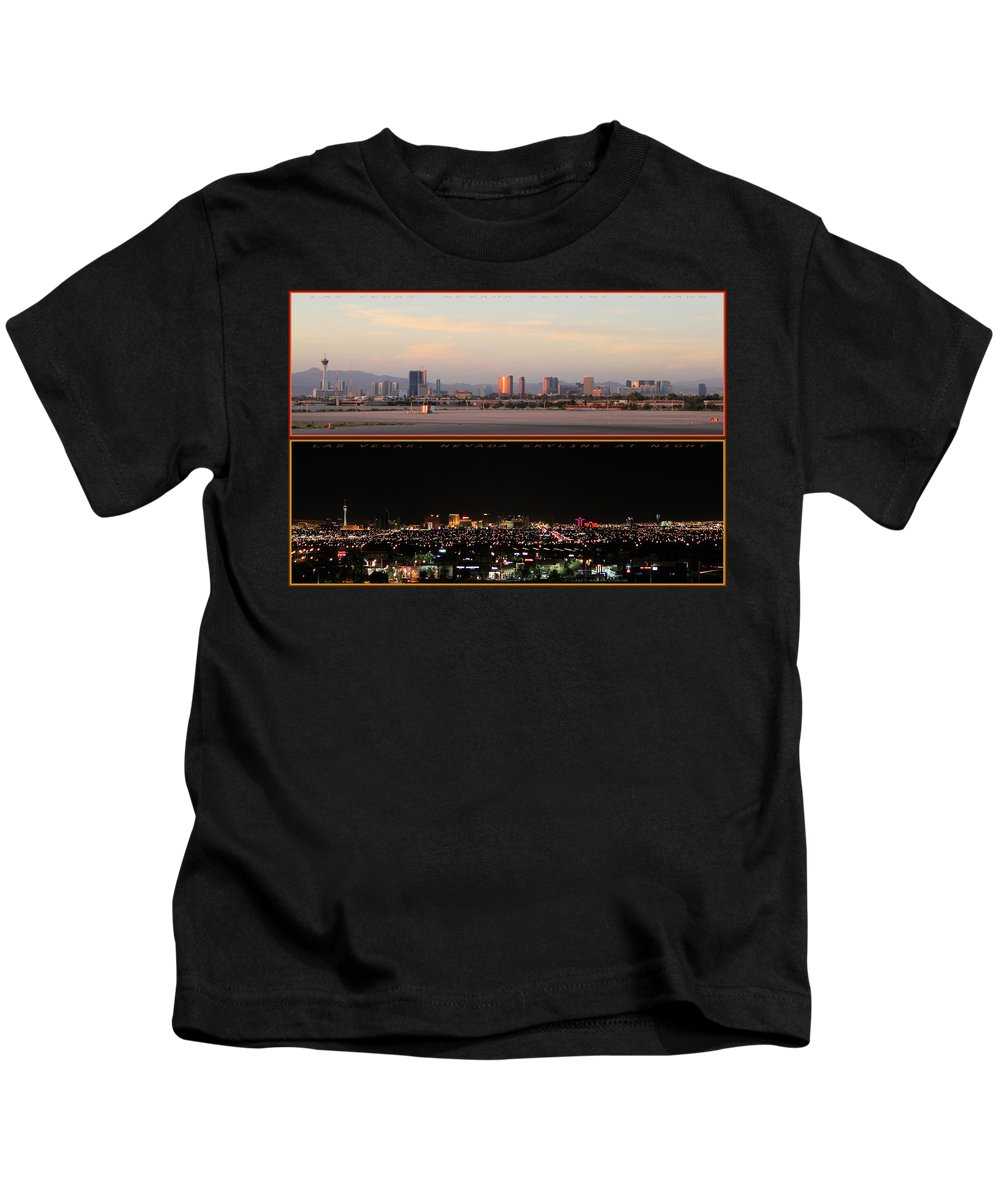 Skyline Kids T-Shirt featuring the photograph Las Vegas Skyline At Dawn And At Night by Carl Deaville