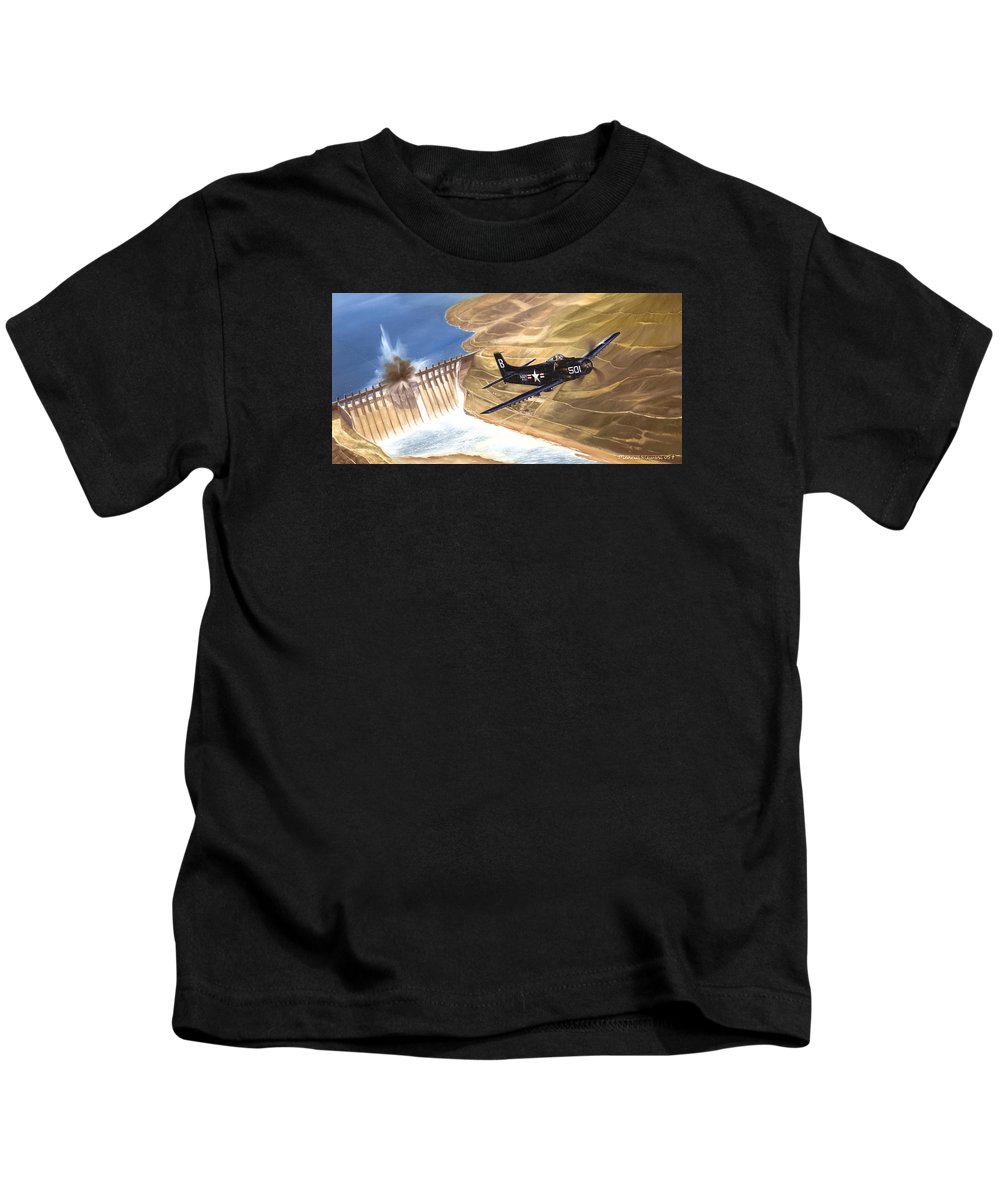Military Kids T-Shirt featuring the painting Last of the Dambusters by Marc Stewart