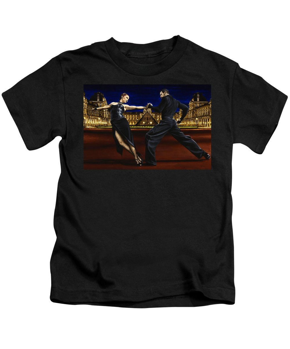 Tango Kids T-Shirt featuring the painting Last Tango In Paris by Richard Young