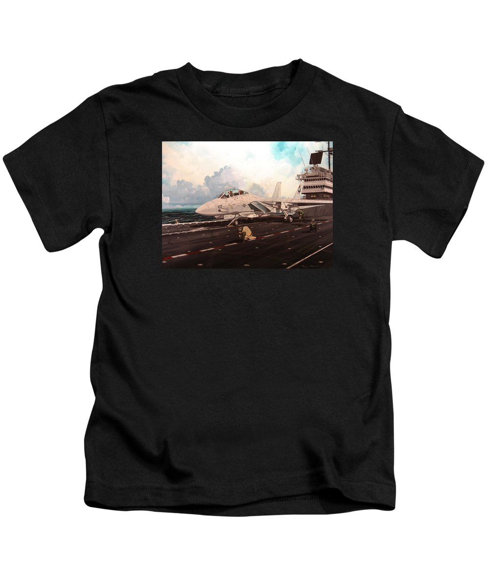 Military Kids T-Shirt featuring the painting Launch The Alert 5 by Marc Stewart