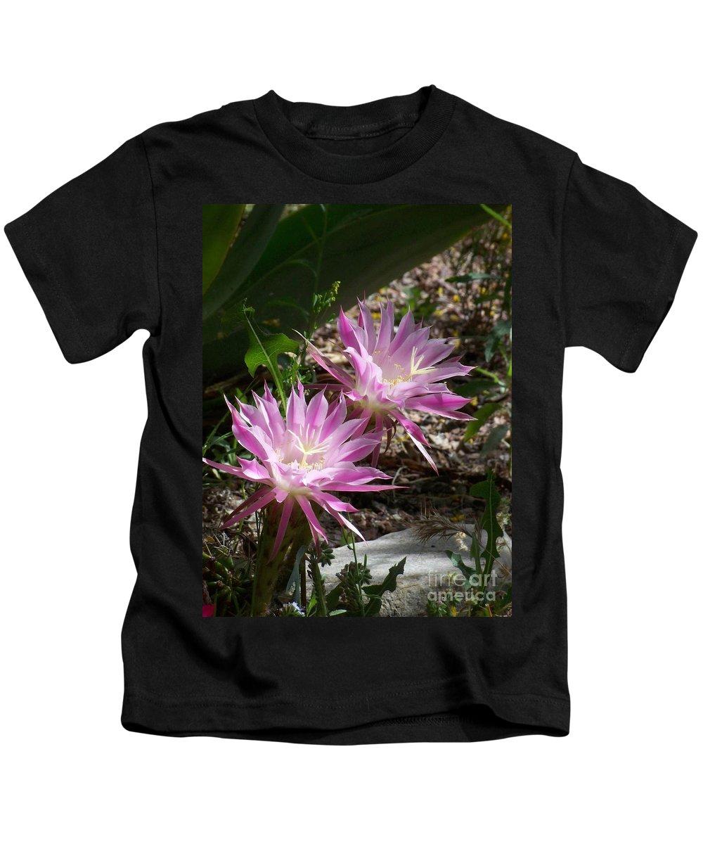 Cactus Kids T-Shirt featuring the photograph Lavendar Cactus Flowers by Kathy McClure