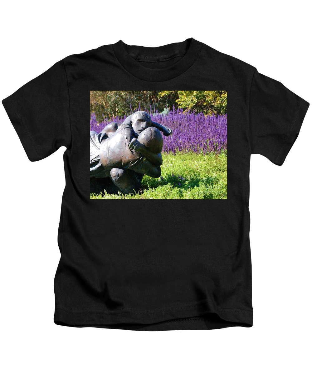 Statue Kids T-Shirt featuring the photograph Lavender Lovers by Debbi Granruth