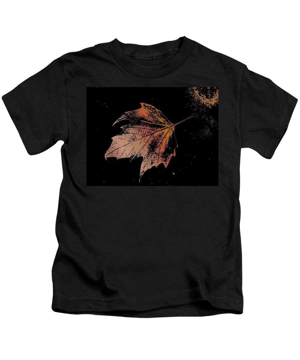 Digital Photo Manipulation Kids T-Shirt featuring the digital art Leaf On Bricks by Tim Allen