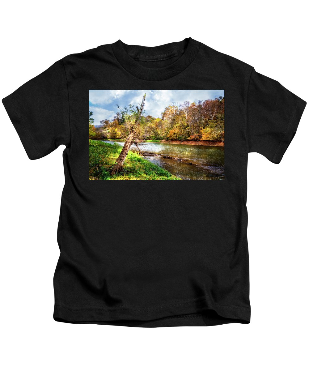 Appalachia Kids T-Shirt featuring the photograph Leaning Tree by Debra and Dave Vanderlaan