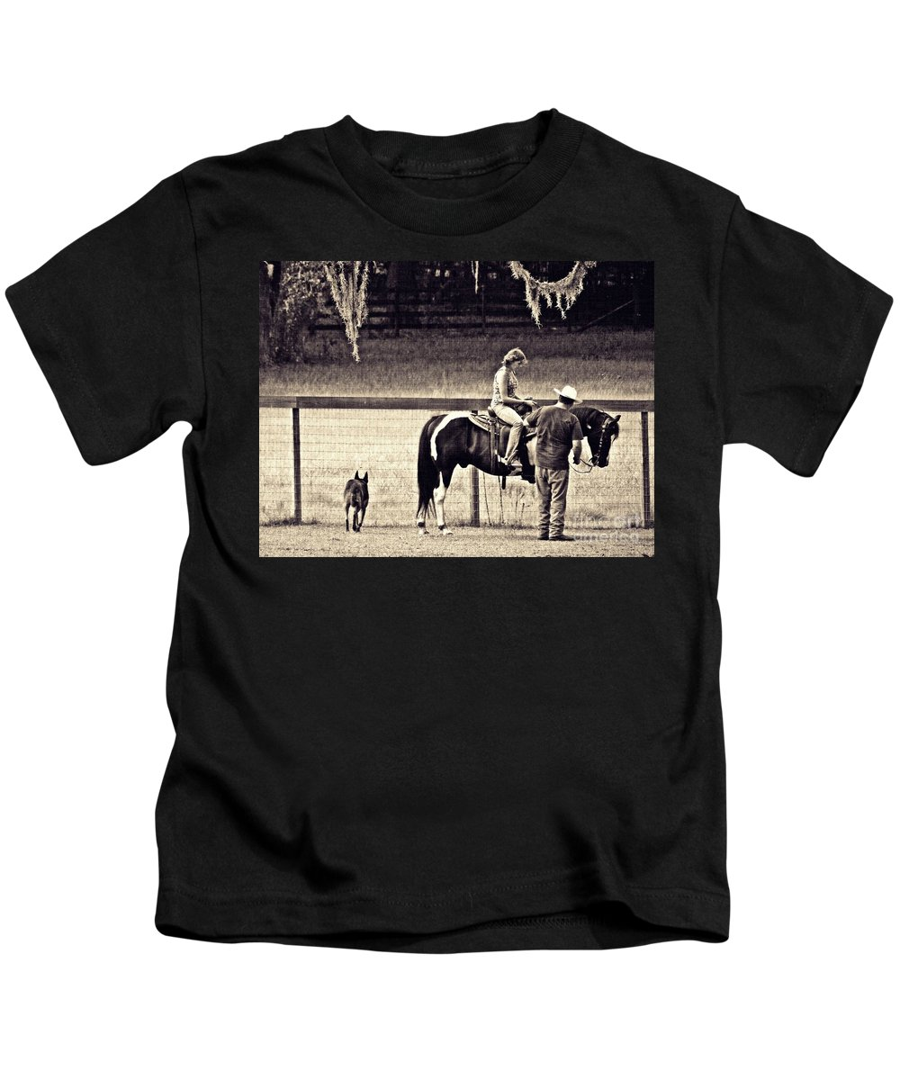 Ranch Kids T-Shirt featuring the photograph Learning To Ride Sepia by Sarah Loft