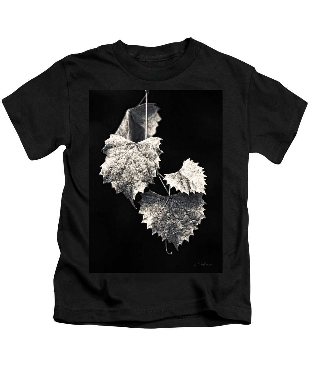 B&w Kids T-Shirt featuring the photograph Leaves by Christopher Holmes