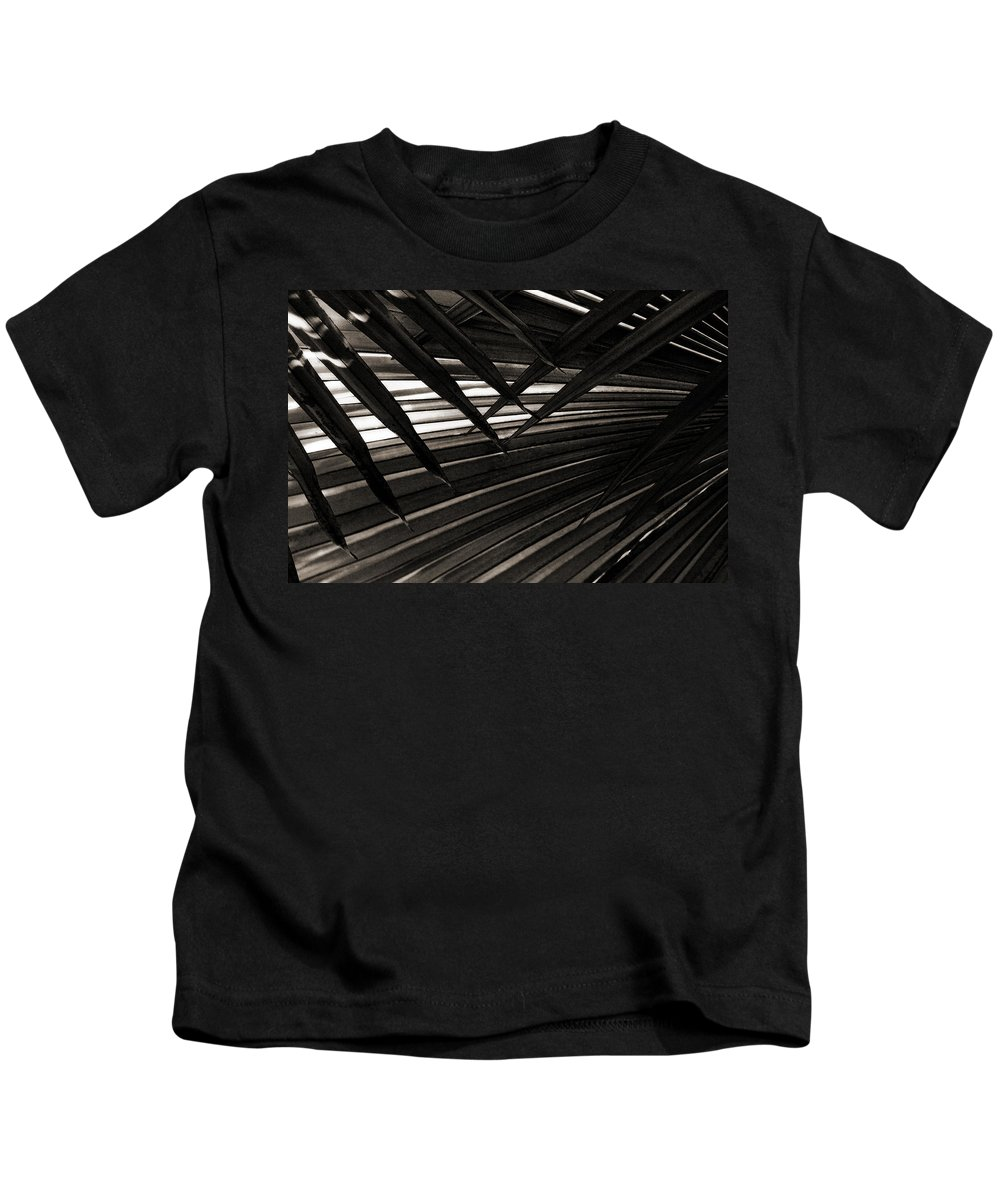 Palm Kids T-Shirt featuring the photograph Leaves Of Palm Black And White by Marilyn Hunt