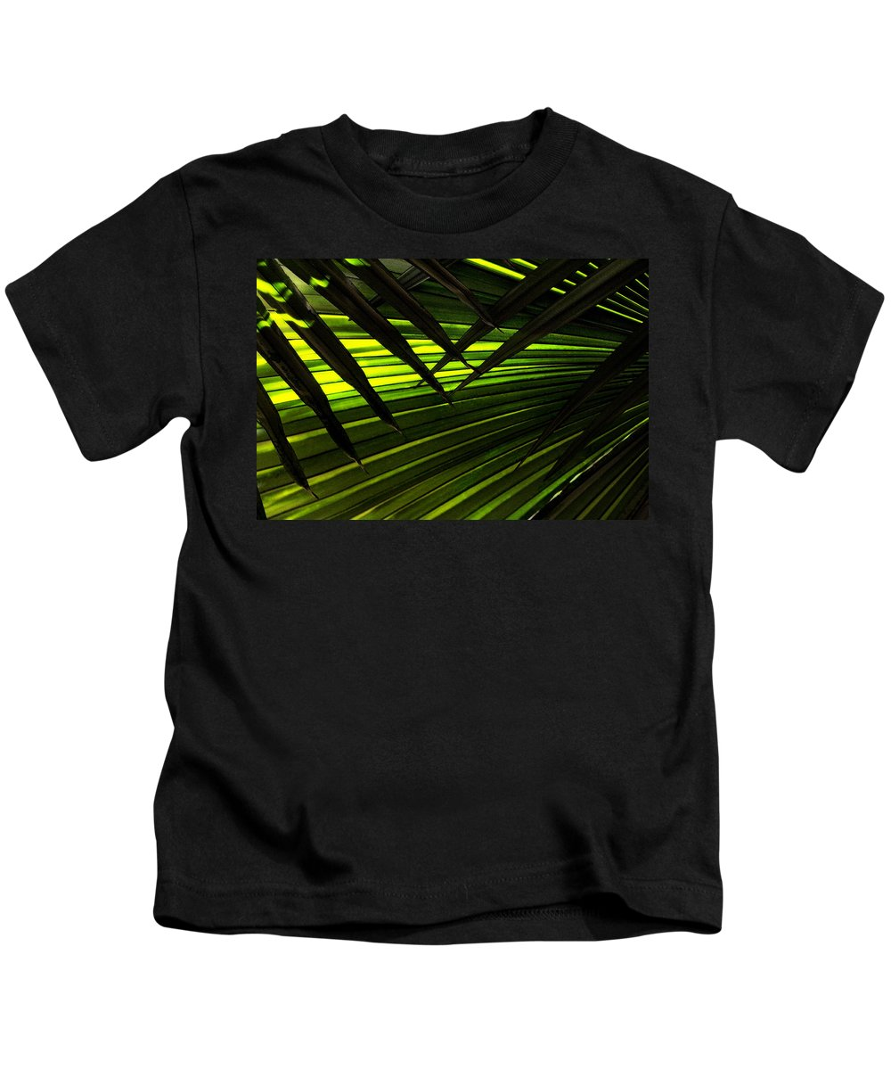 Palm Kids T-Shirt featuring the photograph Leaves Of Palm Color by Marilyn Hunt