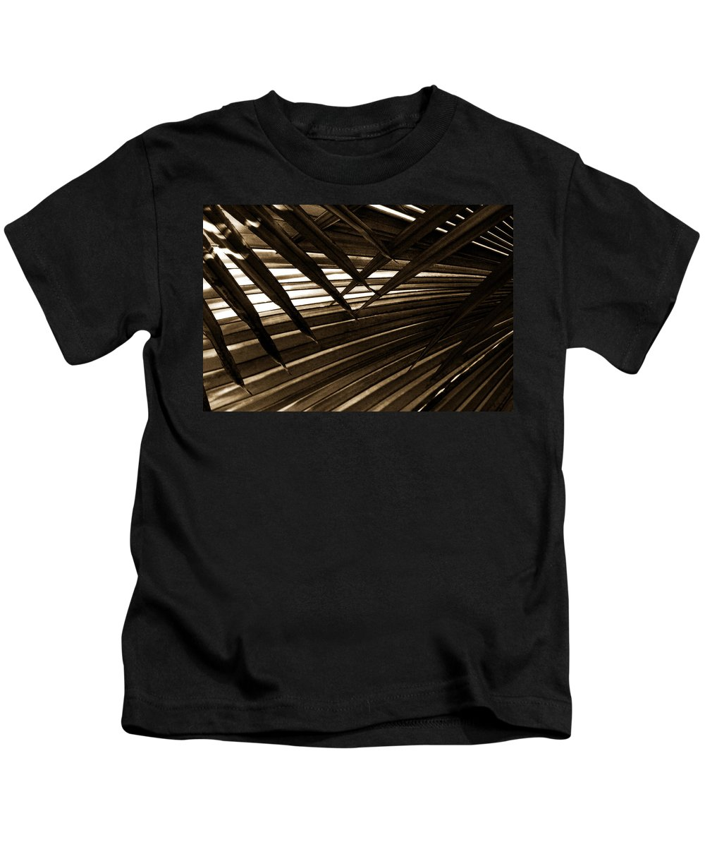 Palm Kids T-Shirt featuring the photograph Leaves Of Palm Sepia by Marilyn Hunt