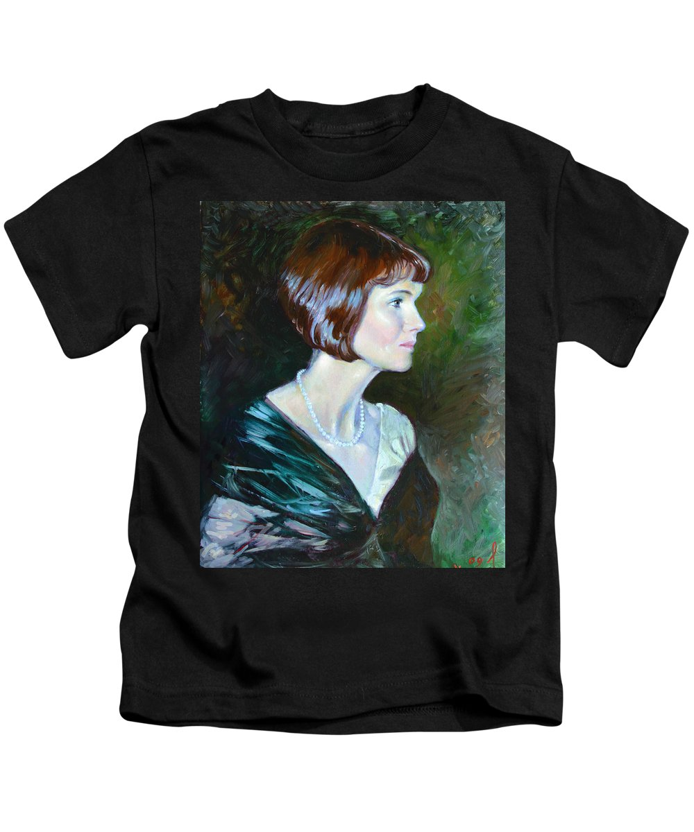 Portrait Kids T-Shirt featuring the painting Ledy In Green by Ylli Haruni