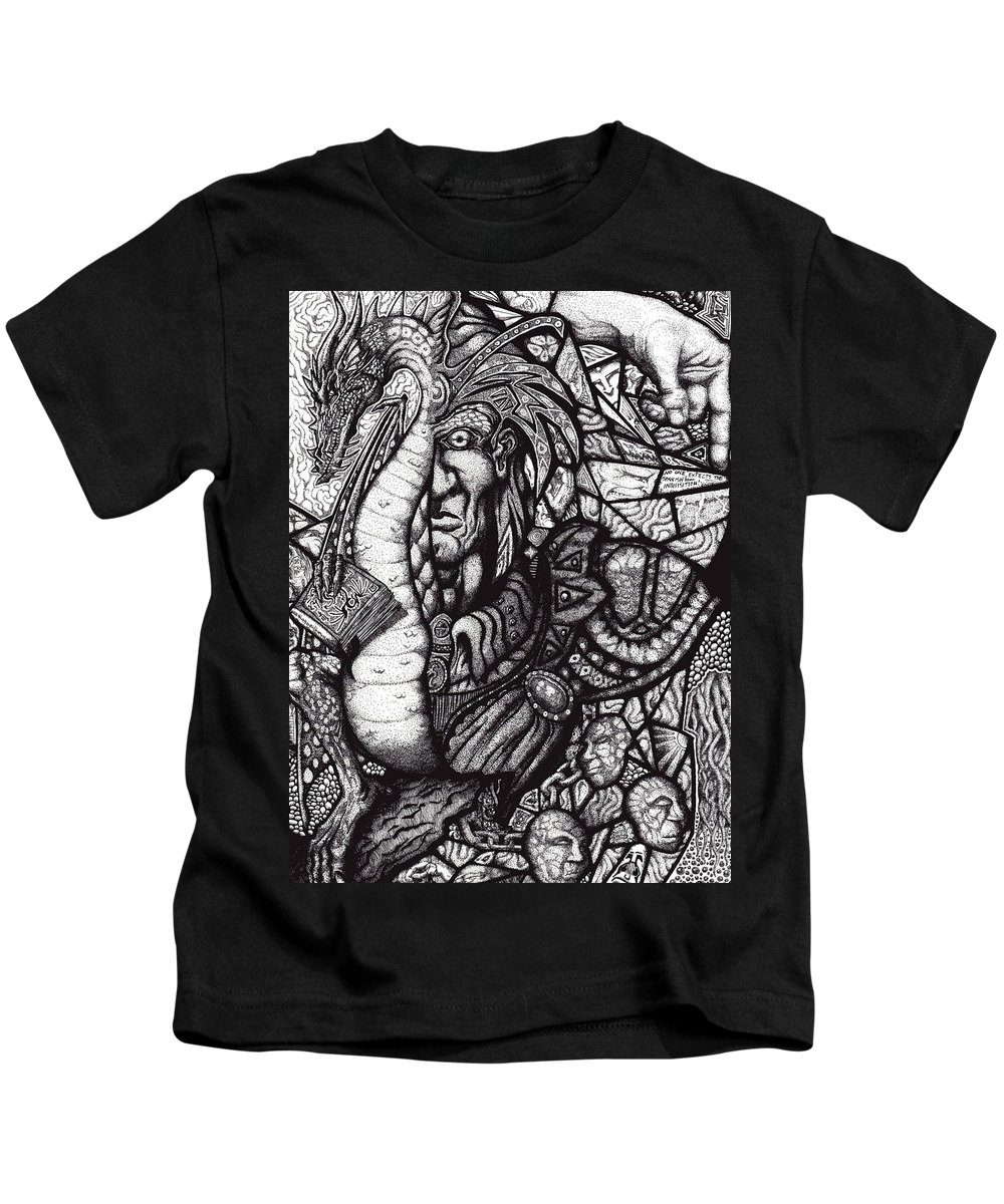 Pen And Ink Kids T-Shirt featuring the drawing Legend by Tobey Anderson