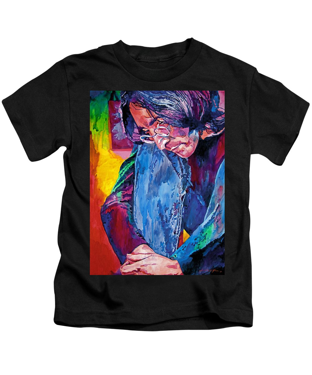 Rock Star Kids T-Shirt featuring the painting Lennon In Repose by David Lloyd Glover