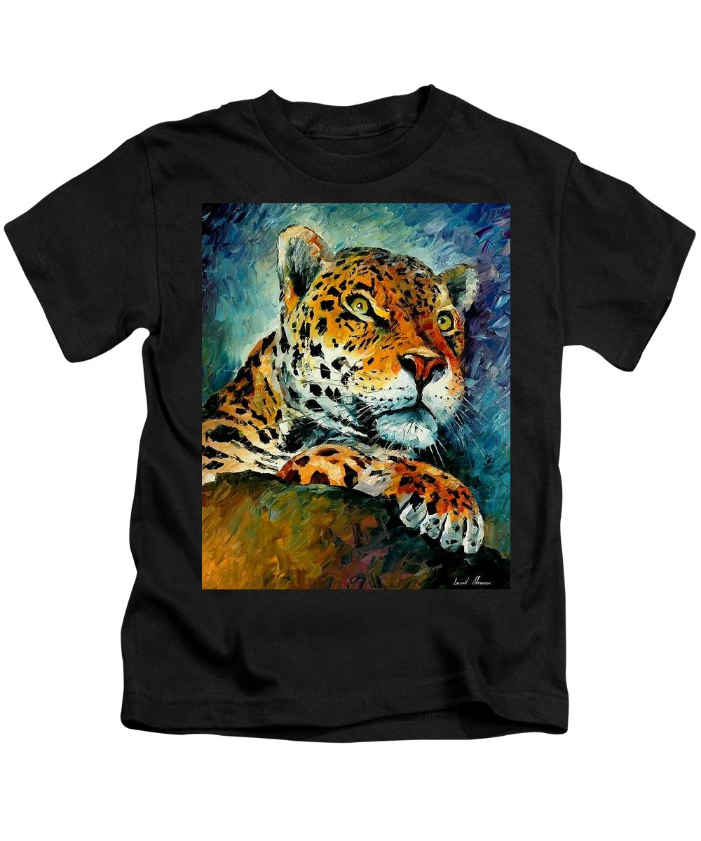 Animals Kids T-Shirt featuring the painting Leopard by Leonid Afremov