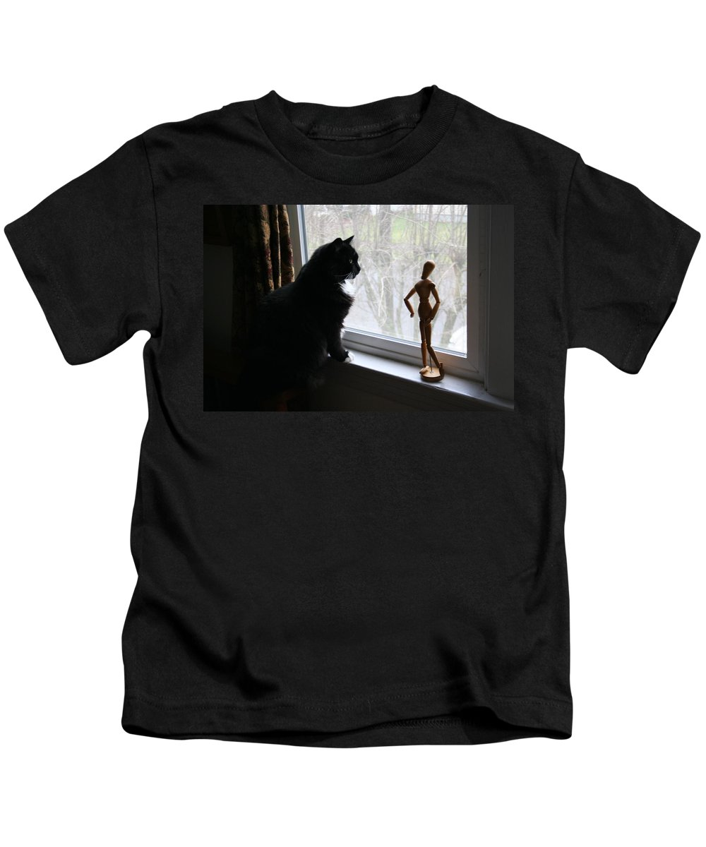 Cat Kids T-Shirt featuring the photograph Lesson In Perspective by Quin Sweetman