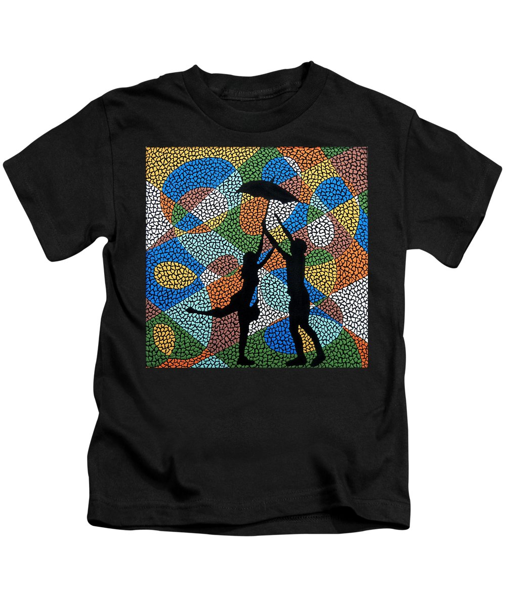 Love Kids T-Shirt featuring the painting Dancing In The Rain by Kruti Shah