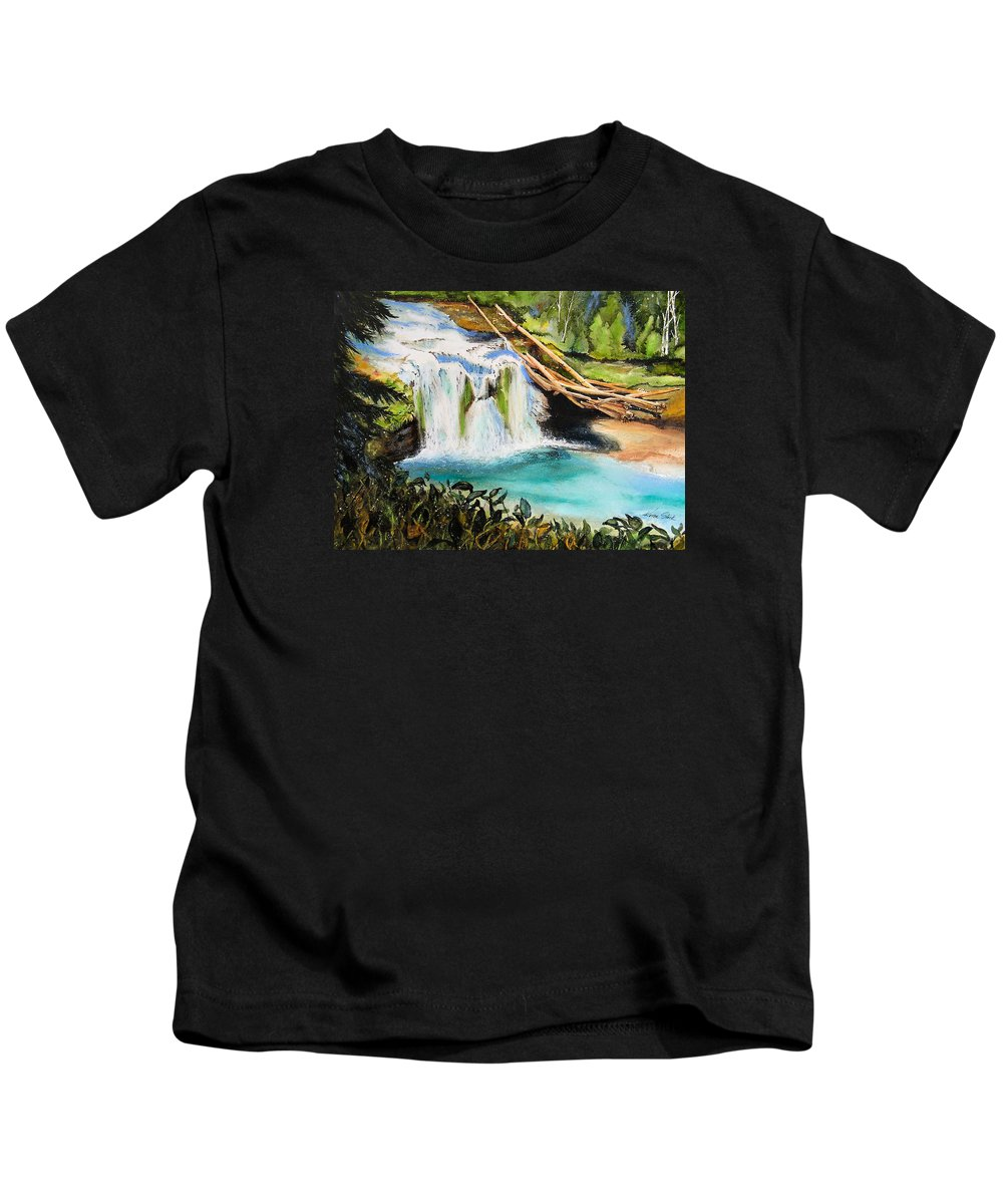 Water Kids T-Shirt featuring the painting Lewis River Falls by Karen Stark