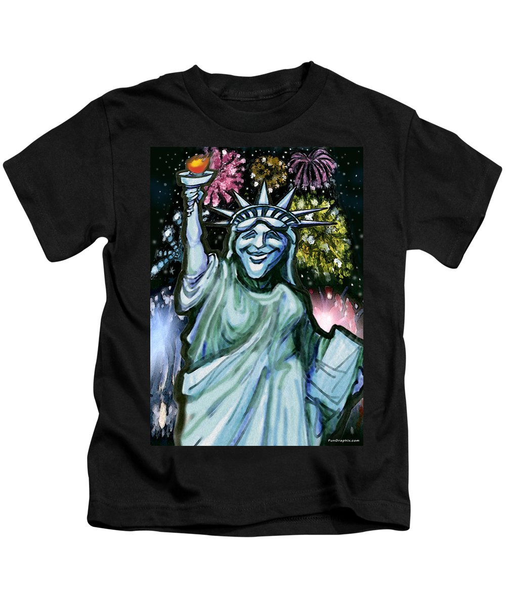 Liberty Kids T-Shirt featuring the painting Liberty by Kevin Middleton