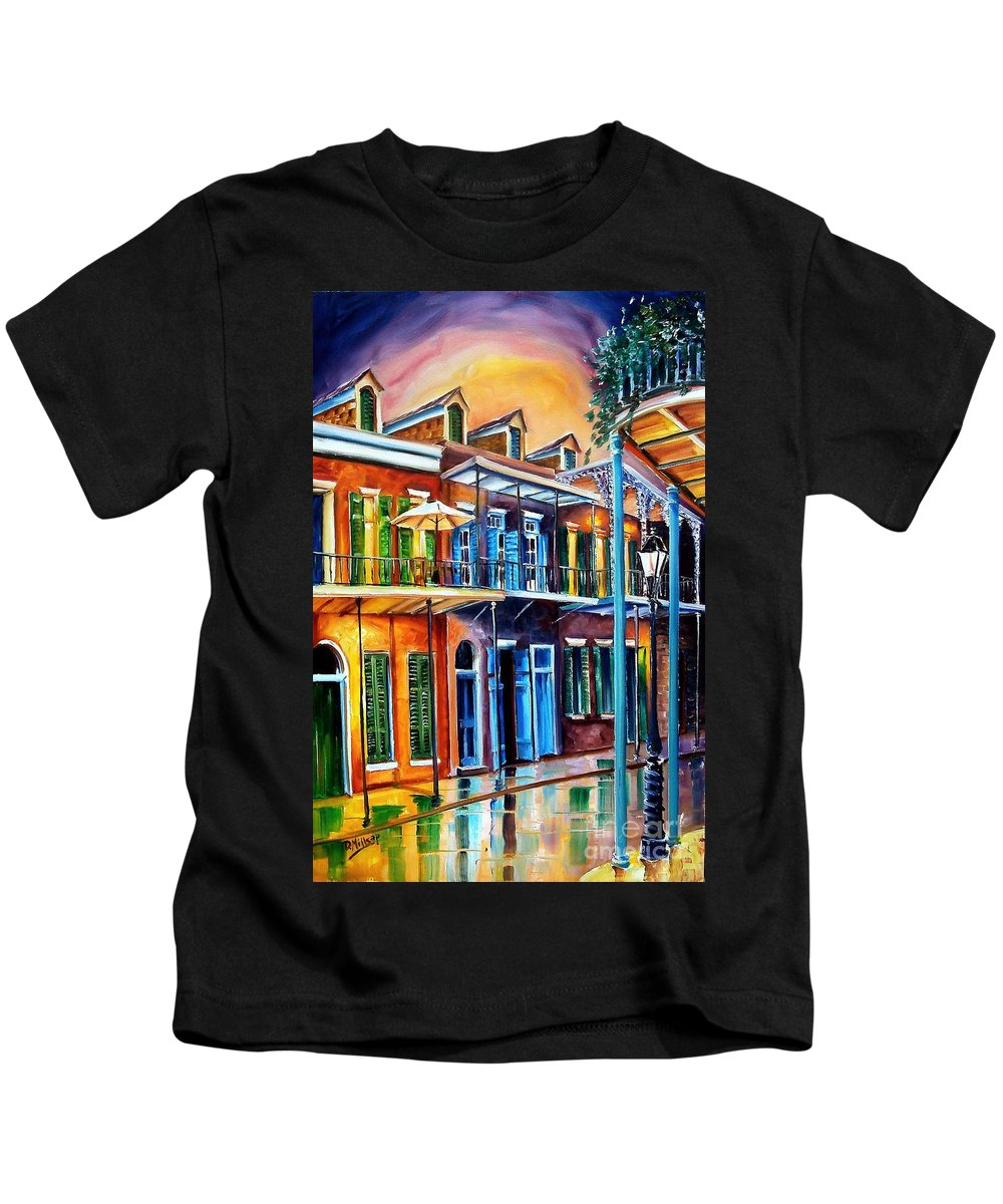 New Orleans Kids T-Shirt featuring the painting Life After Dark by Diane Millsap