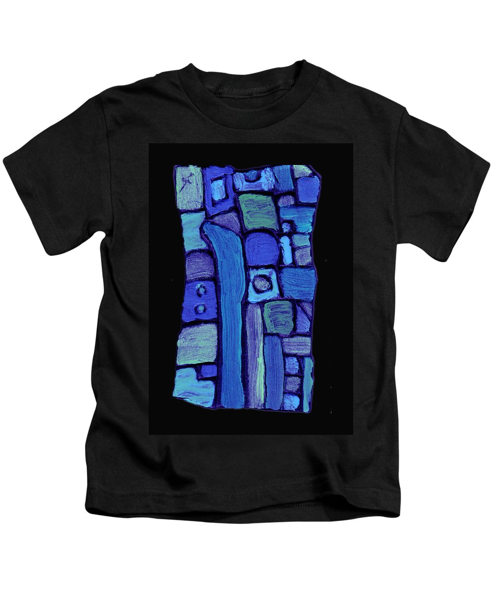 Abstract Kids T-Shirt featuring the painting Life In The Pond by Wayne Potrafka