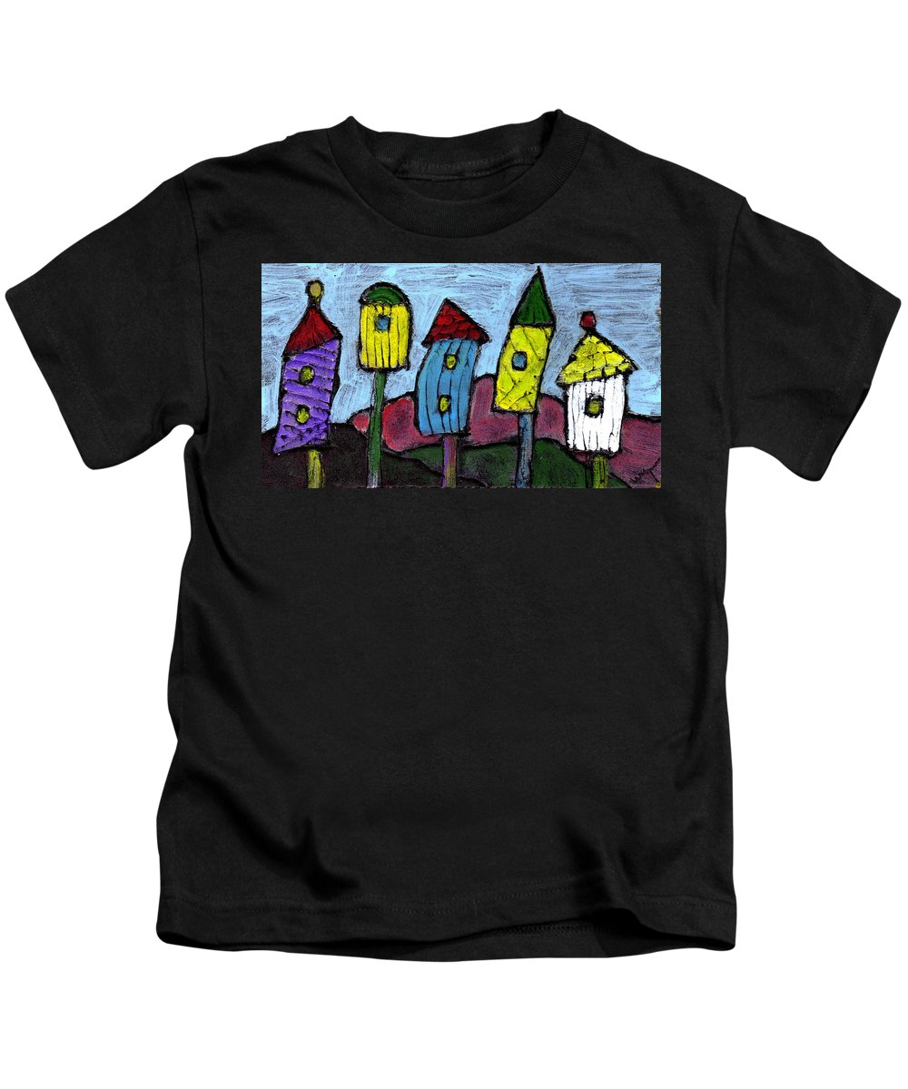 Bird Kids T-Shirt featuring the painting Life In The Subirds by Wayne Potrafka